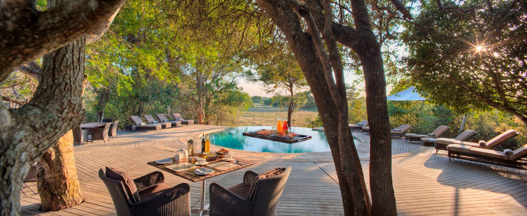 Beautiful pool area at Phinda Forest