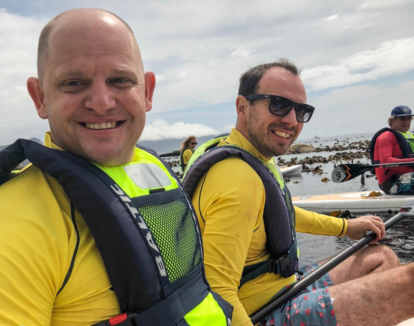 Clyde Beaty and Rob Morley the Tailormade Africa Directors Stand Up Paddle Boarding in Cape Town
