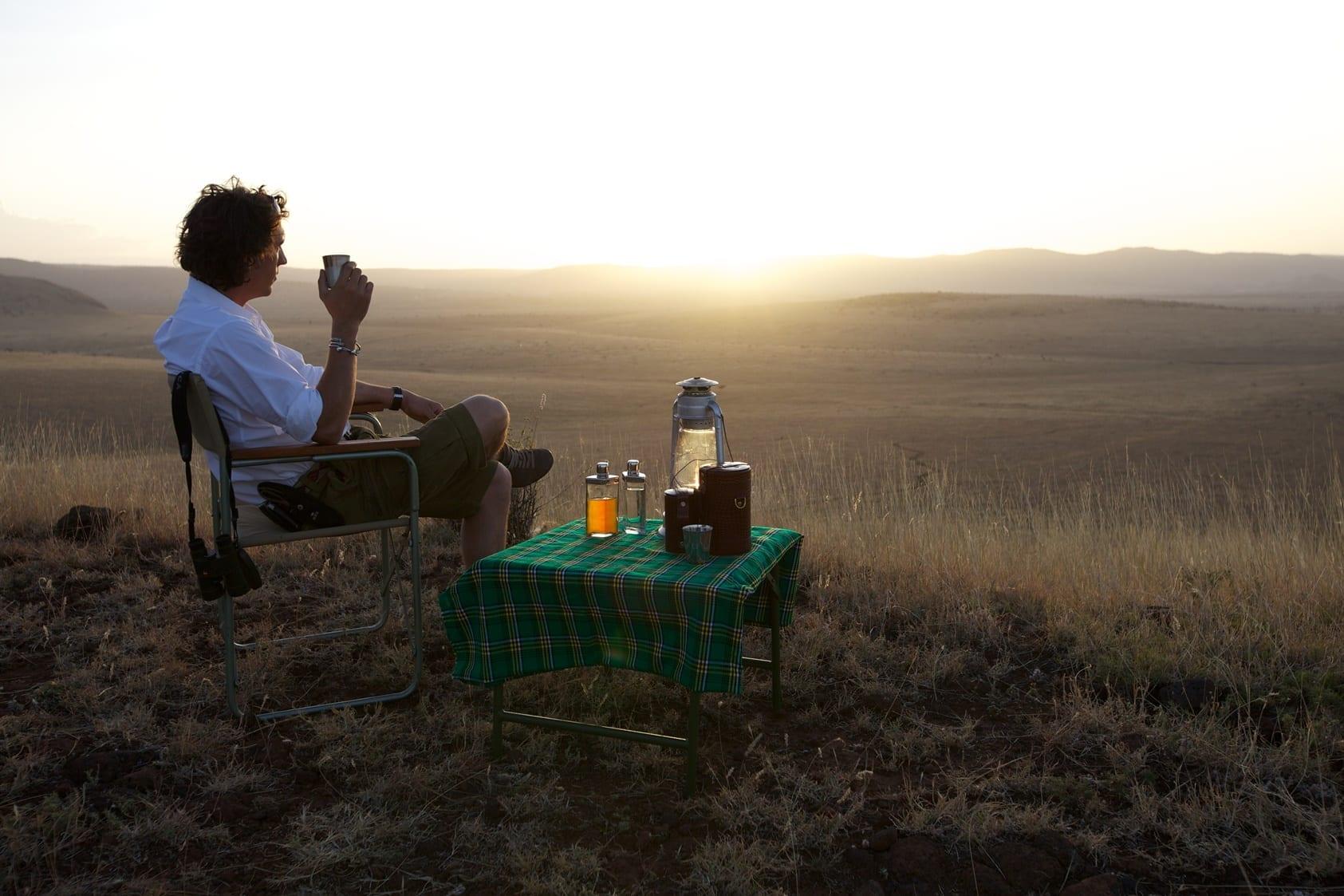 Drinks at sunset Lewa Safari Camp