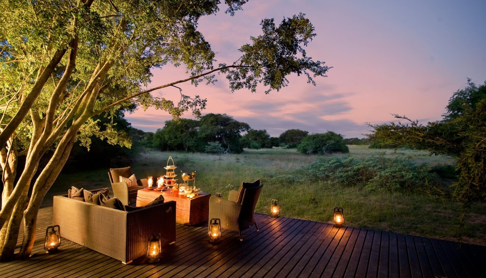 Evening on the deck at Phinda Forest Lodge