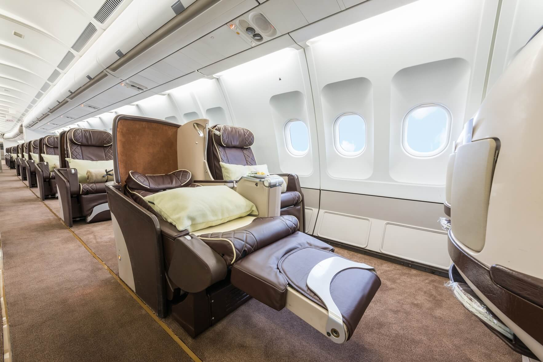 Inside Cabin of the Private Jet to the Maldives