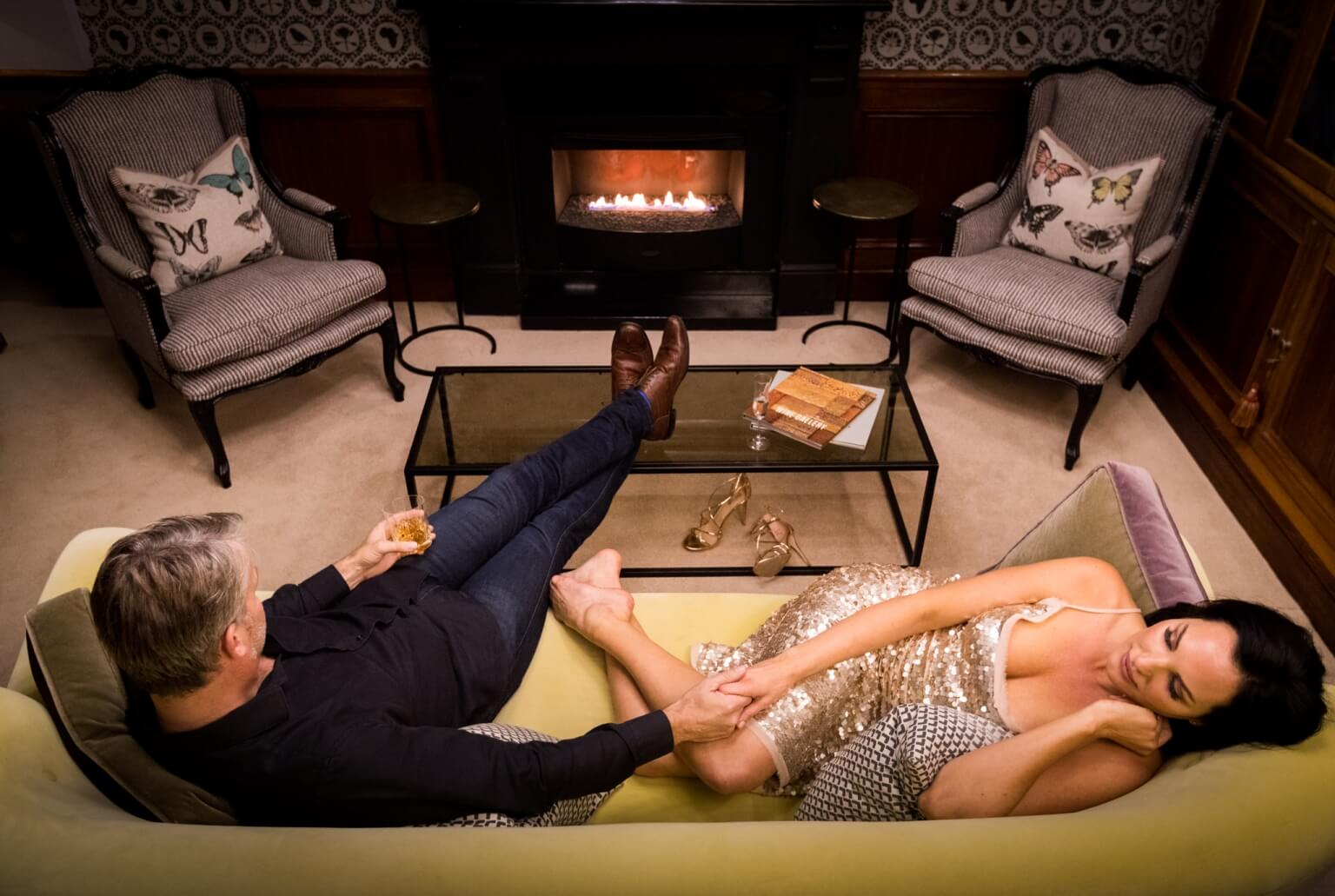 Relax in the Library with a fire at Ellerman House