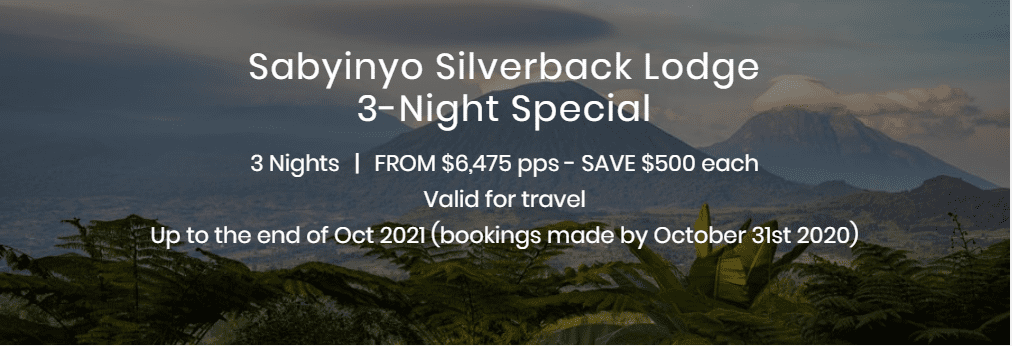 Sabyinyo Silverback Lodge 3 Night Special Display