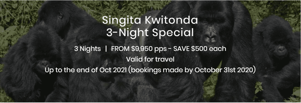 Singita Kwitonda 3 Night Special Display