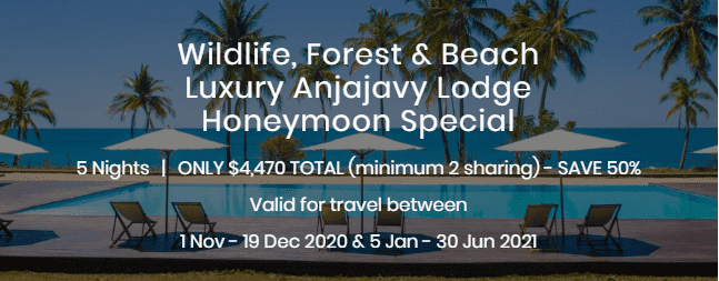 Wildlife Forest and Beach Luxury Anjajavy Lodge Honeymoon